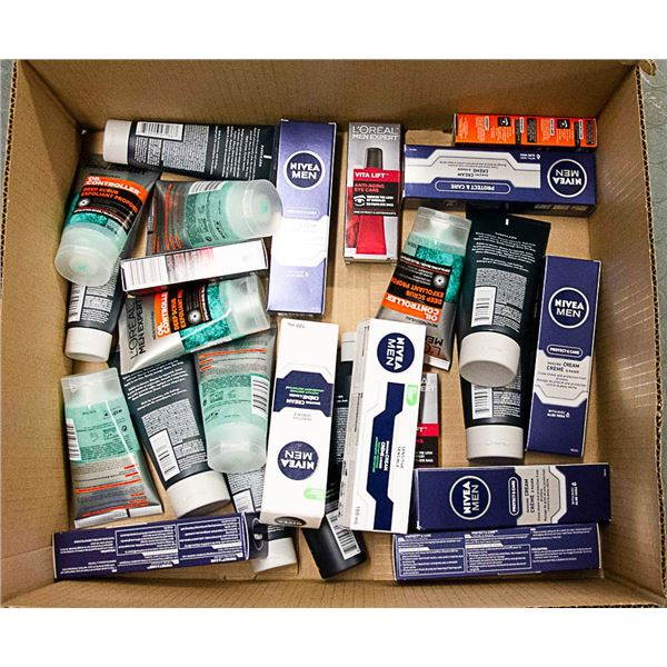 FLAT LOT OF ASSORTED MENS FACIAL PRODUCTS