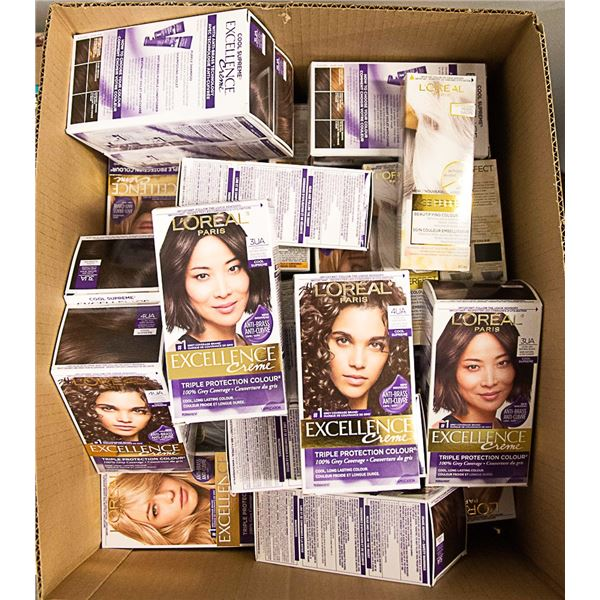 FLAT LOT OF ASSORTED BRAND NAME HAIR COLOR KITS