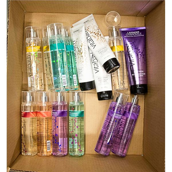 FLAT OF ASSORTED BODY WASH, BODY MIST & LOTIONS