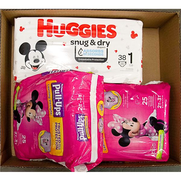FLAT LOT OF ASSORTED DIAPERS & PULL-UPS