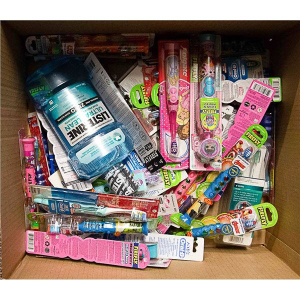 FLAT LOT OF ASSORTED KIDS TOOTHBRUSHES + MOUTHWASH