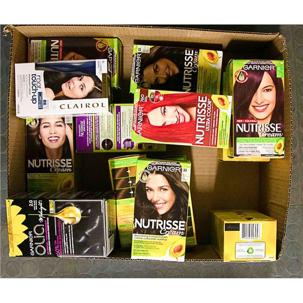 FLAT LOT OF ASSORTED BRAND NAME HAIR COLOUR KITS