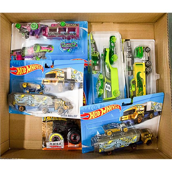 BOX LOT OF ASSORTED HOT WHEEL TOYS