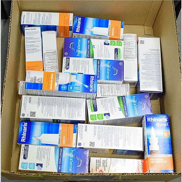 FLAT LOT OF ASSORTED NASAL SPRAYS & CARE