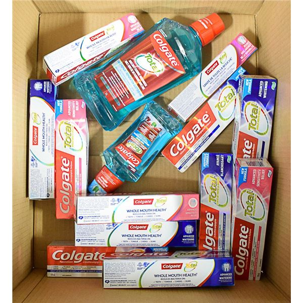 FLAT LOT OF ASSORTED TOOTHPASTE & MOUTHWASH