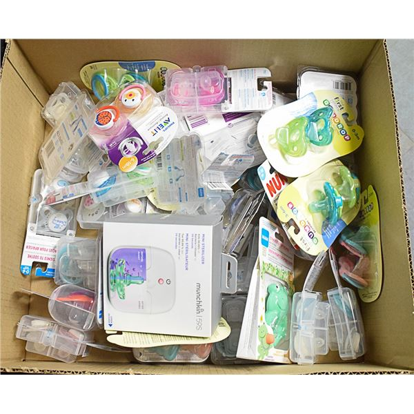 FLAT LOT OF ASSORTED INFANT PACIFIERS