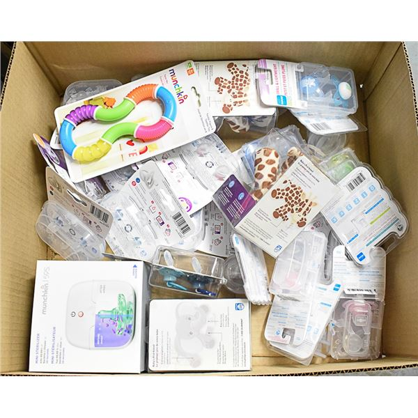 FLAT LOT OF ASSORTED INFANT PACIFIERS & MORE