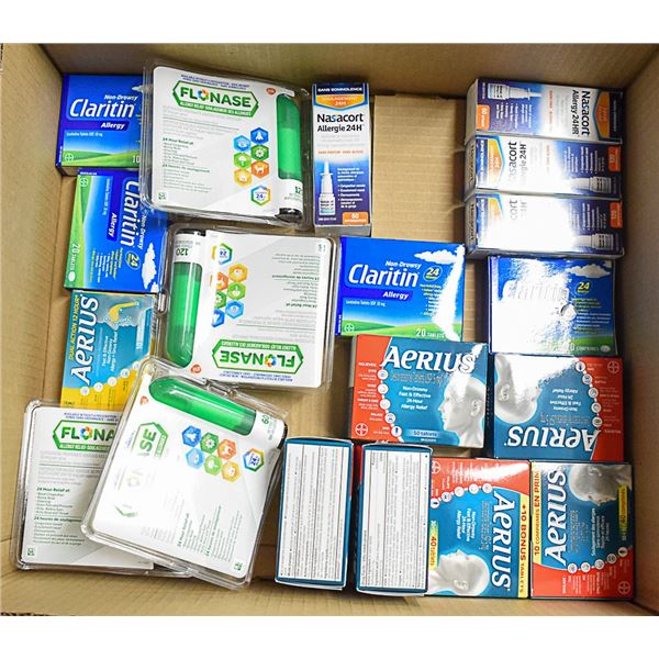 FLAT LOT OF ASSORTED ALLERGY RELIEF MEDICATION