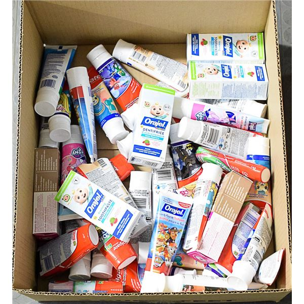 FLAT LOT OF ASSORTED CHILDRENS TOOTHPASTE