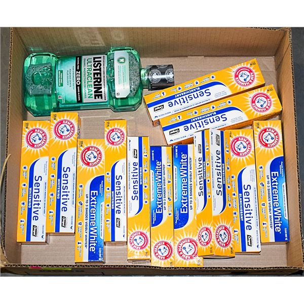 LOT OF ASSORTED TOOTHPASTE & MOUTHWASH