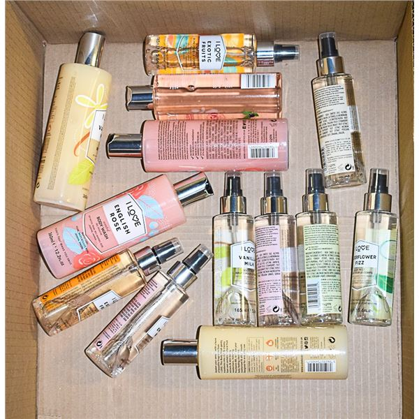 FLAT LOT OF ASSORTED BODY WASH & BODY MISTS