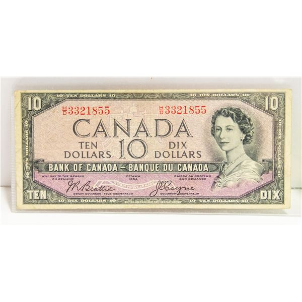 1954 CANADIAN $10 BILL DEVILS FACE