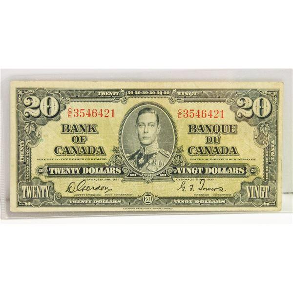 1937 CANADIAN $20 BILL
