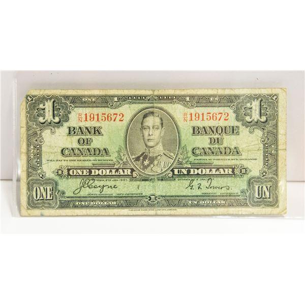 1937 CANADIAN $1 BILL