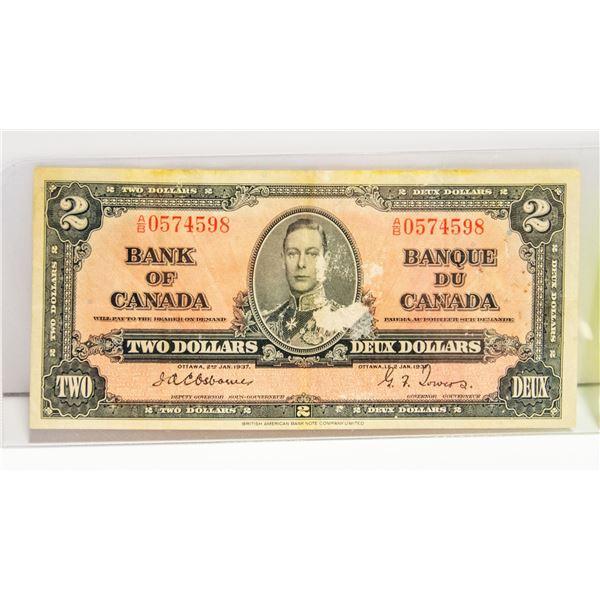 1937 CANADIAN $2 BILL