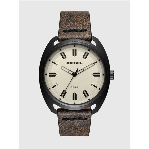 NEW DIESEL CREAM DIAL LEATHER STRAP 45MM MSRP $200