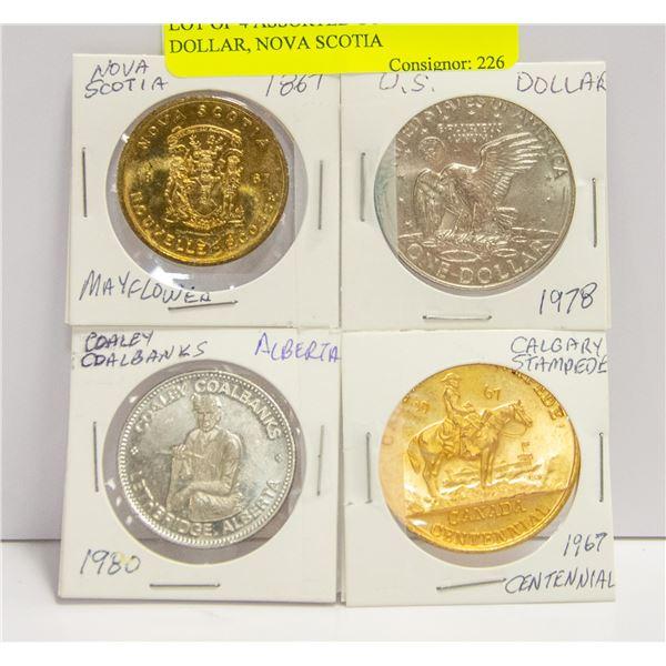 LOT OF 4 ASSORTED COINS - U.S. DOLLAR, NOVA SCOTIA
