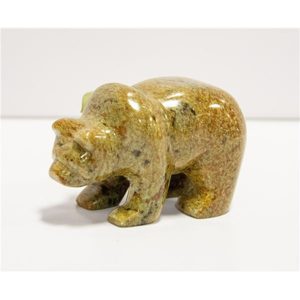 SIGNED SOAPSTONE GRIZZLY BEAR CARVING
