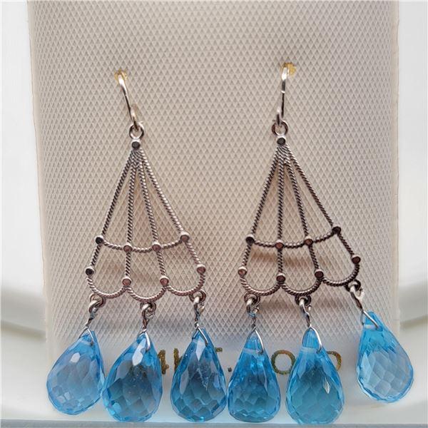BZ337-16 14K  BLUE TOPAZ EARRINGS