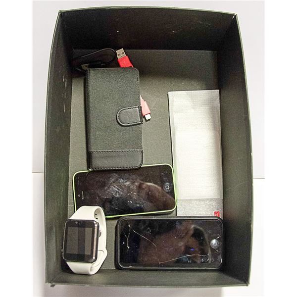IPHONE 5 W/ CASE + TEMPERED GLASS SCREEN + SMART W