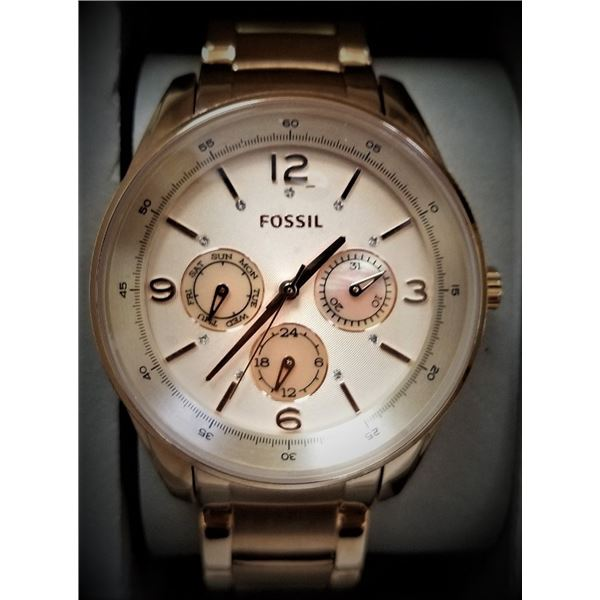NEW FOSSIL ROSE GOLD TRIPLE CHRONO MSRP $199 WATCH
