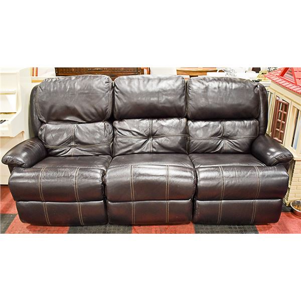 """BROWN LEATHER ELECTRIC RECLINING SOFA-88""""WIDE-131"""