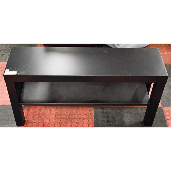 """BLACK IKEA BENCH W/ SHELF APPROX H-18"""" L-35"""" W-10"""""""