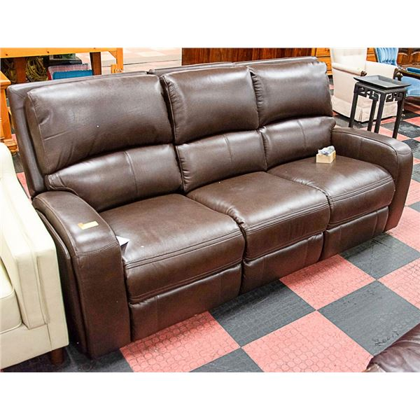 SHOWHOME BROWN LEATHER RECLINER COUCH
