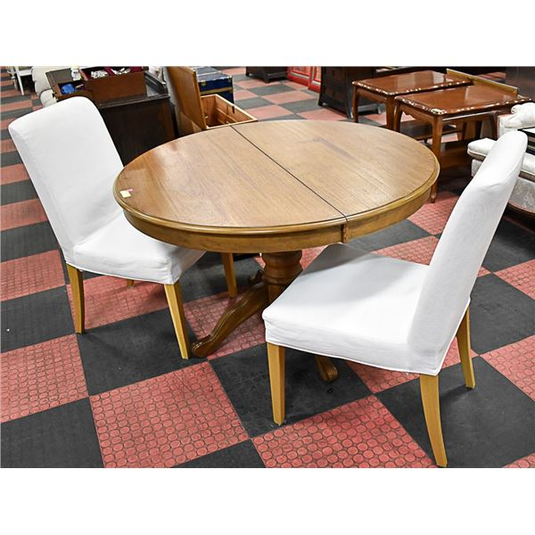 WOODEN DINING TABLE W/ 2 WHITE CHAIRS