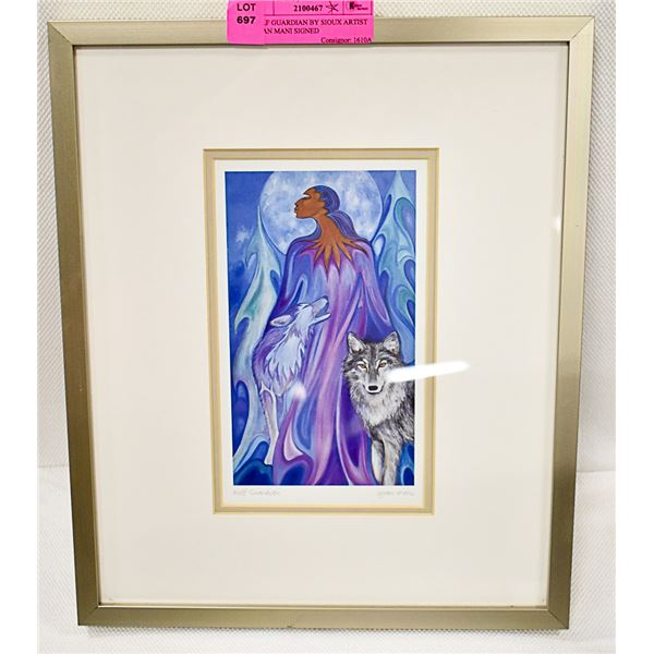 WOLF GUARDIAN BY SIOUX ARTIST IOYAN MANI SIGNED