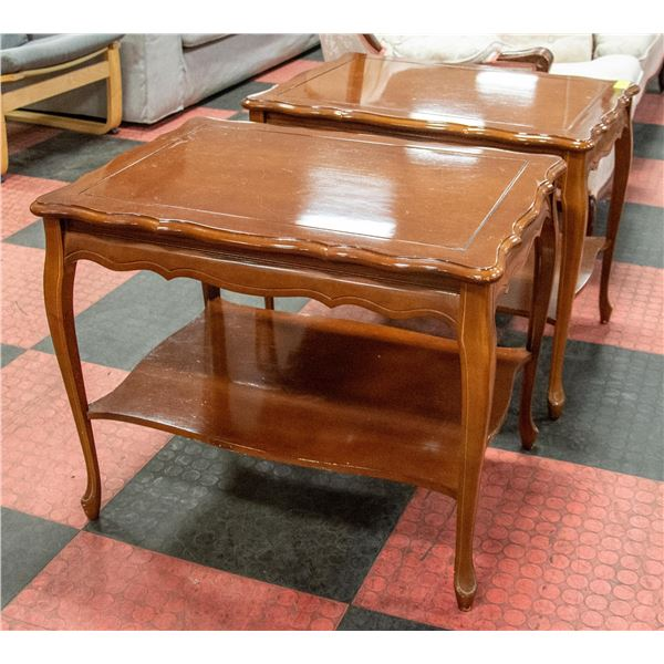 PAIR SOLID WOOD END TABLES