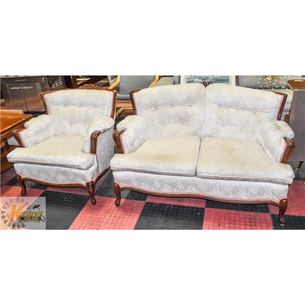 FRENCH PROVINCIAL STYLE LOVE SEAT AND CHAIR