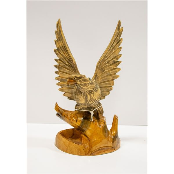 PAIR OF WOOD CARVED PIECES EAGLE + OWL