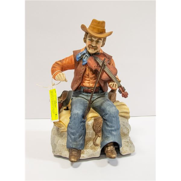 """MELODY IN MOTION CERAMIC MUSICAL COWBOY 12"""" TALL"""