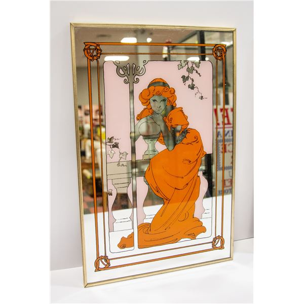 2 DECORATIVE MIRROR PICTURES FROM 1970'S
