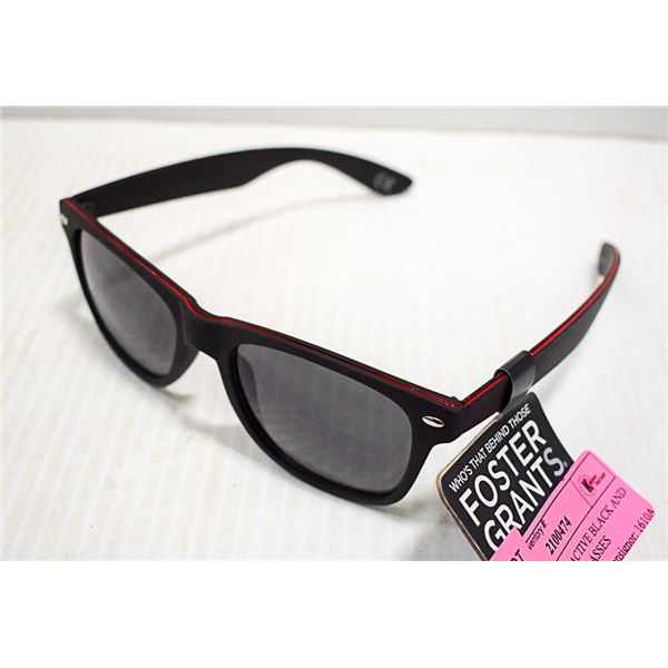 FOSTER GRANT ACTIVE BLACK AND REDFRAMES SUNGLASSES