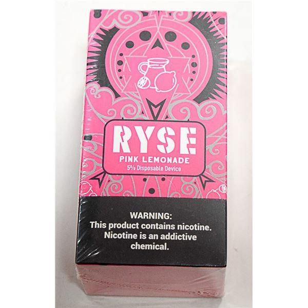 BOX W/ 10 RYSE PINK LEMONADE 5% DISPOSABLE E-CIGS