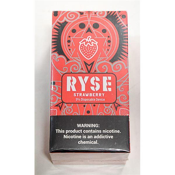 BOX W/ 10 RYSE STRAWBERRY 5% DISPOSABLE E-CIGS