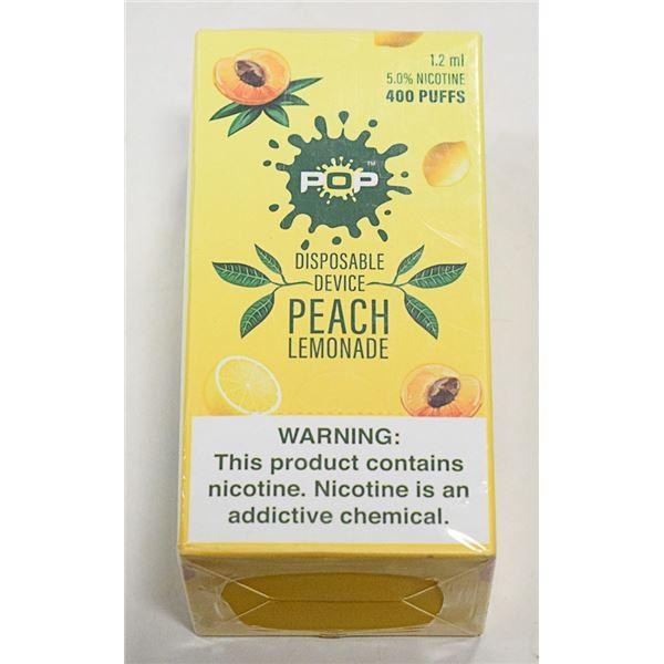BOX W/10 POP PEACH LEMONADE 5% DISPOSABLE E-CIGS