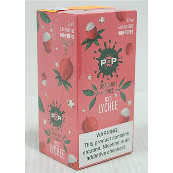 BOX W/10 POP ICED LYCHEE 5% DISPOSABLE E-CIGS