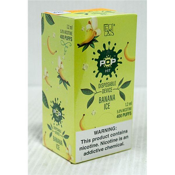 BOX W/10 POP BANANA ICE 5% DISPOSABLE E-CIGS