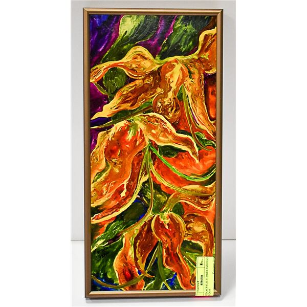 SIGNED ACRYLIC FLOWER PAINTING WITH COA