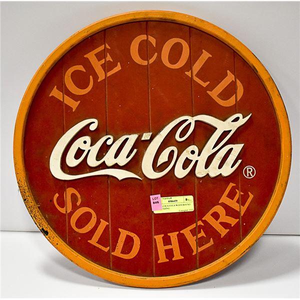 COCA-COLA WOOD ROUND ADVERTIZING SIGN