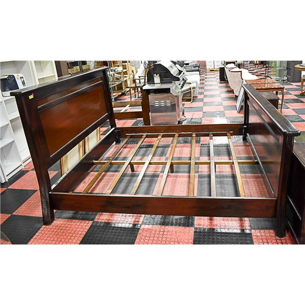 KING HEADBOARD/BEDFRAME W/2 BEDSIDE TABLES-