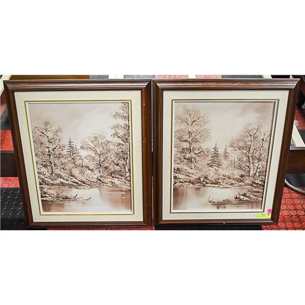 """SET OF 2 OIL ON CANVAS PAINTINGS-23"""" X 27"""" - 131"""