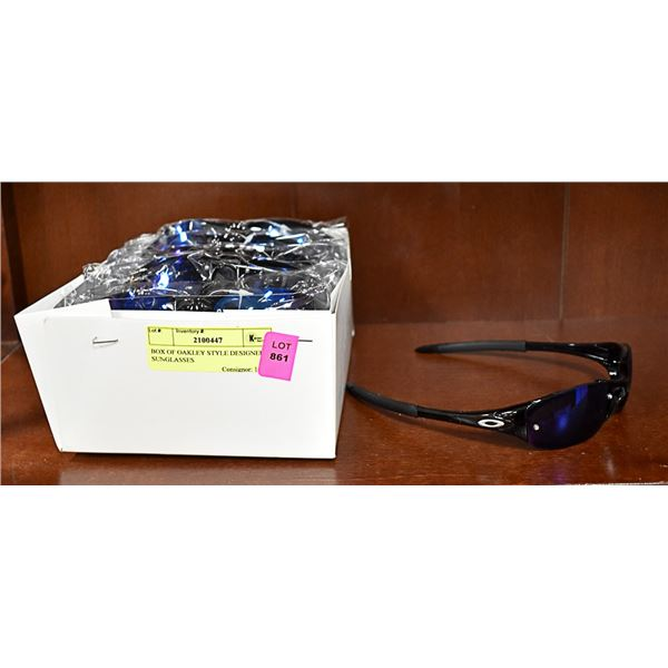 BOX OF OAKLEY STYLE DESIGNER SUNGLASSES