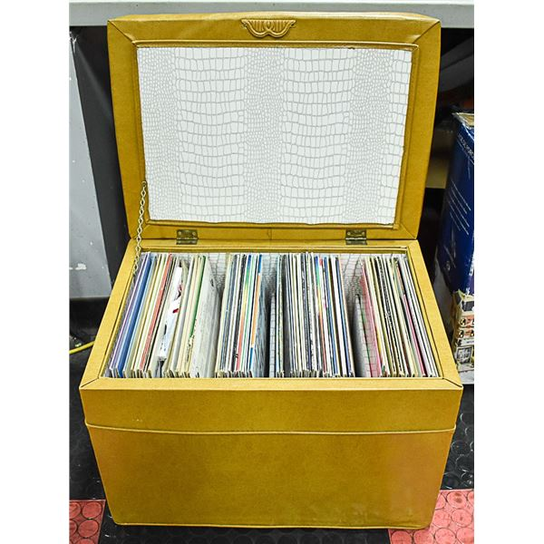 1960'S ORIGINAL RECORD STORAGE BOX WITH RECORDS