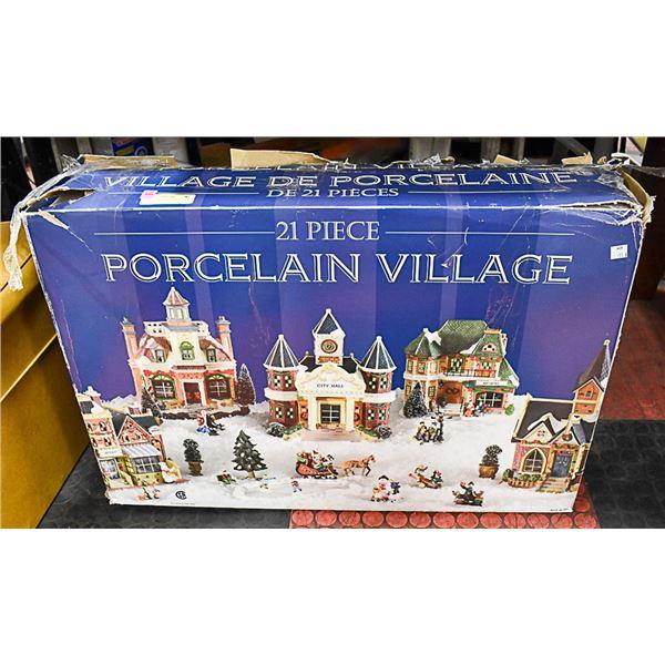 21 PIECE PORCELAIN CHRISTMAS VILLAGE-131
