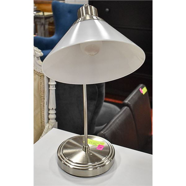 TABLE LAMP W/ ADJUSTABLE WHITE SHADE + SILVER BASE