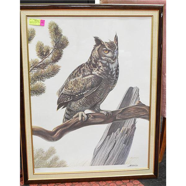 MICHAELSEN-GREAT HORNED OWL FRAMED 188/750